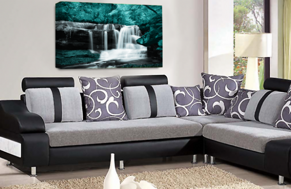 Waterfall Landscape Wall Art Teal Grey White Canvas Forrest Picture